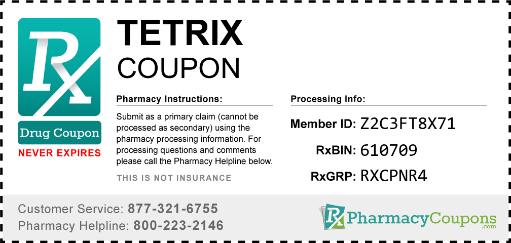 Tetrix Prescription Drug Coupon with Pharmacy Savings
