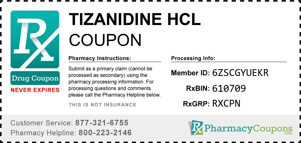 Tizanidine hcl Prescription Drug Coupon with Pharmacy Savings