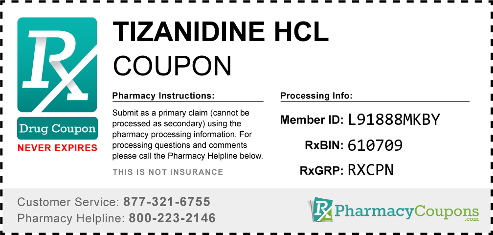 Tizanidine hcl Prescription Drug Coupon with Pharmacy Savings