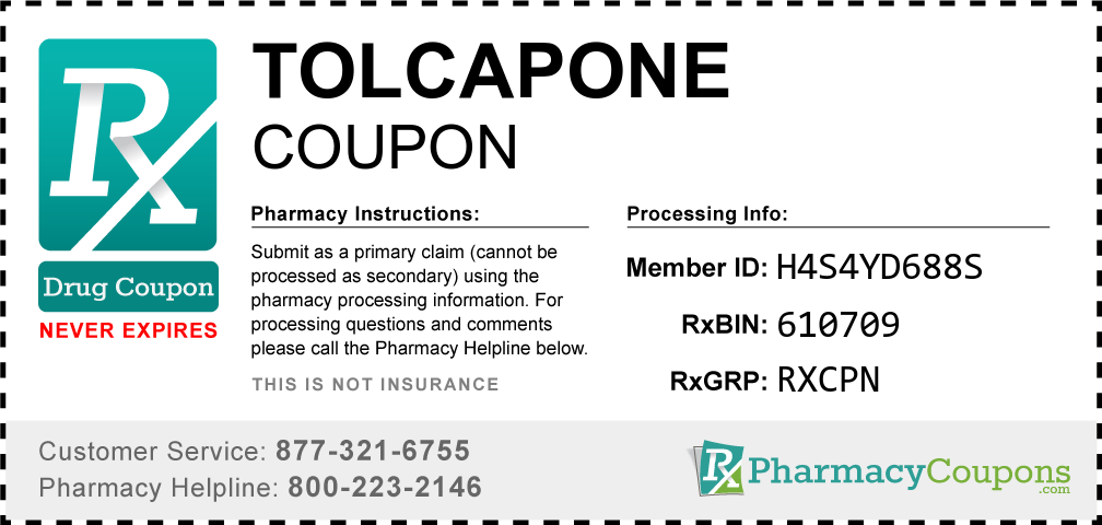 Tolcapone Prescription Drug Coupon with Pharmacy Savings