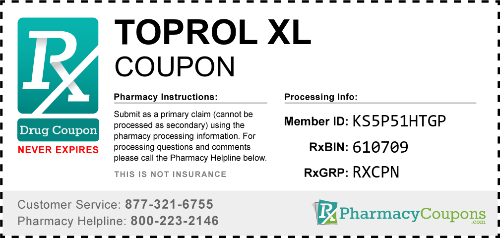 Toprol xl Prescription Drug Coupon with Pharmacy Savings