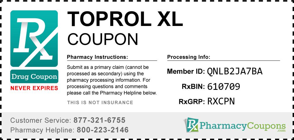 Toprol xl Prescription Drug Coupon with Pharmacy Savings