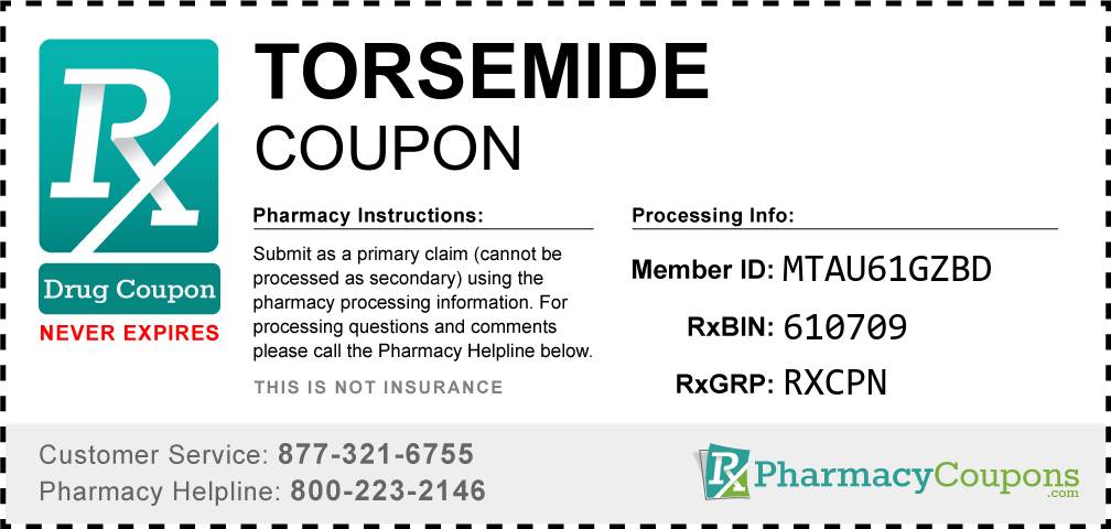 Torsemide Prescription Drug Coupon with Pharmacy Savings