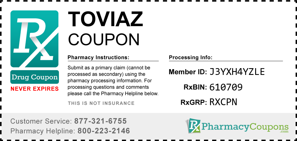 Toviaz Prescription Drug Coupon with Pharmacy Savings