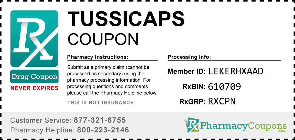 Tussicaps Prescription Drug Coupon with Pharmacy Savings