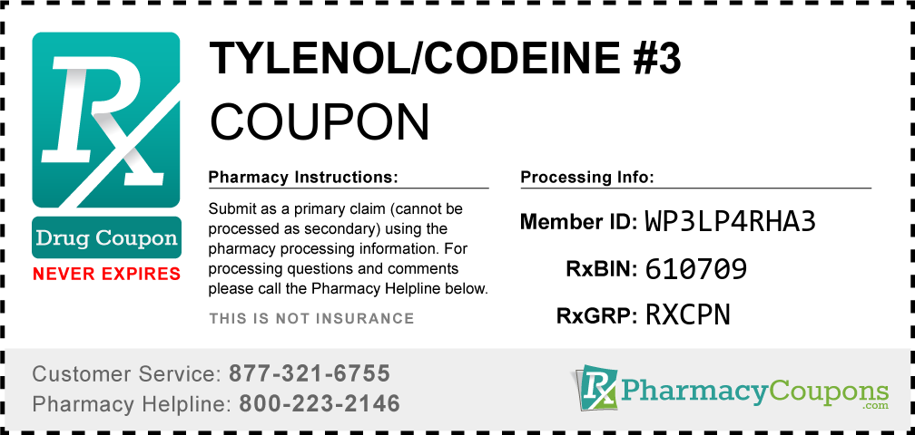 Tylenol/codeine #3 Prescription Drug Coupon with Pharmacy Savings