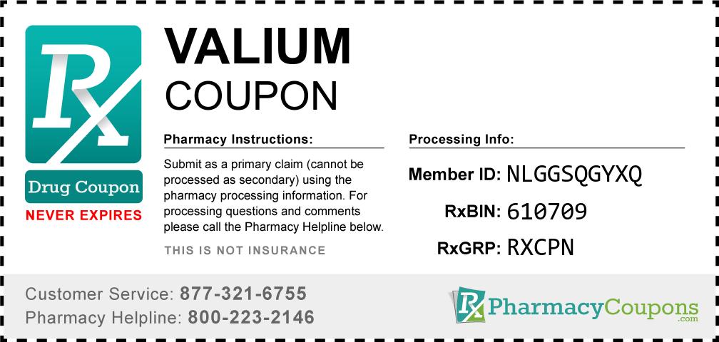 Valium Prescription Drug Coupon with Pharmacy Savings