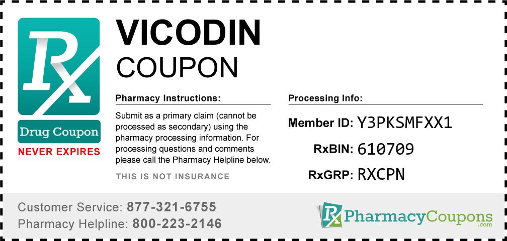 Vicodin Prescription Drug Coupon with Pharmacy Savings