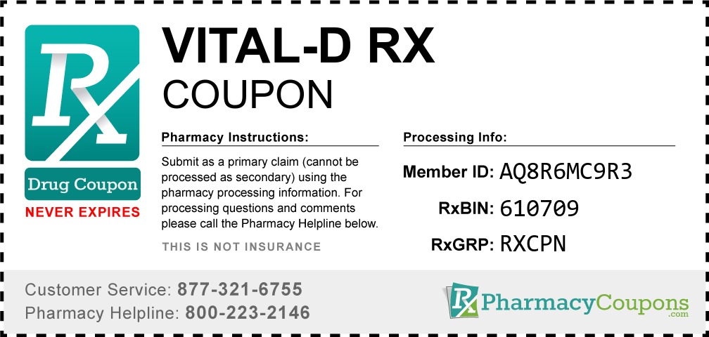 Vital-d rx Prescription Drug Coupon with Pharmacy Savings