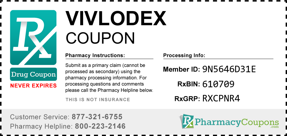 Vivlodex Prescription Drug Coupon with Pharmacy Savings
