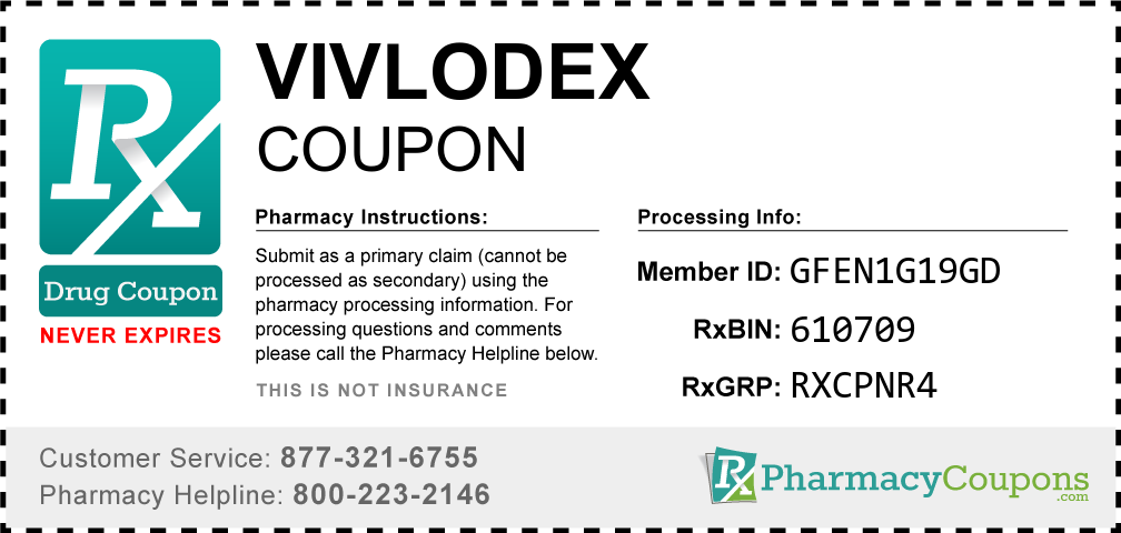 Vivlodex Prescription Drug Coupon with Pharmacy Savings
