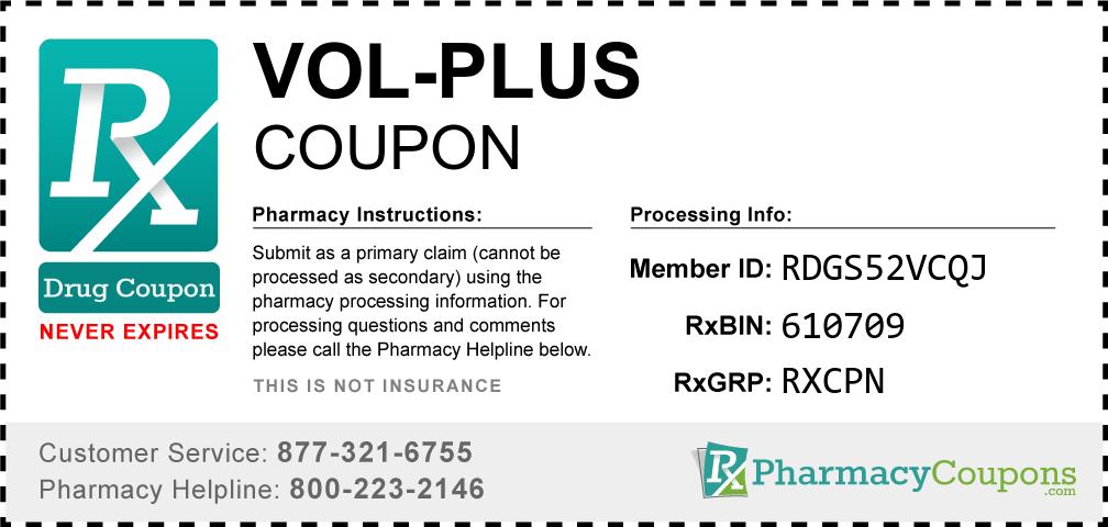 Vol-plus Prescription Drug Coupon with Pharmacy Savings