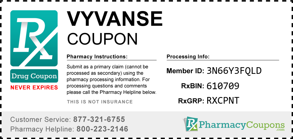 Vyvanse Prescription Drug Coupon with Pharmacy Savings