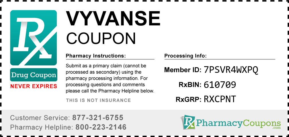 Vyvanse Prescription Drug Coupon with Pharmacy Savings