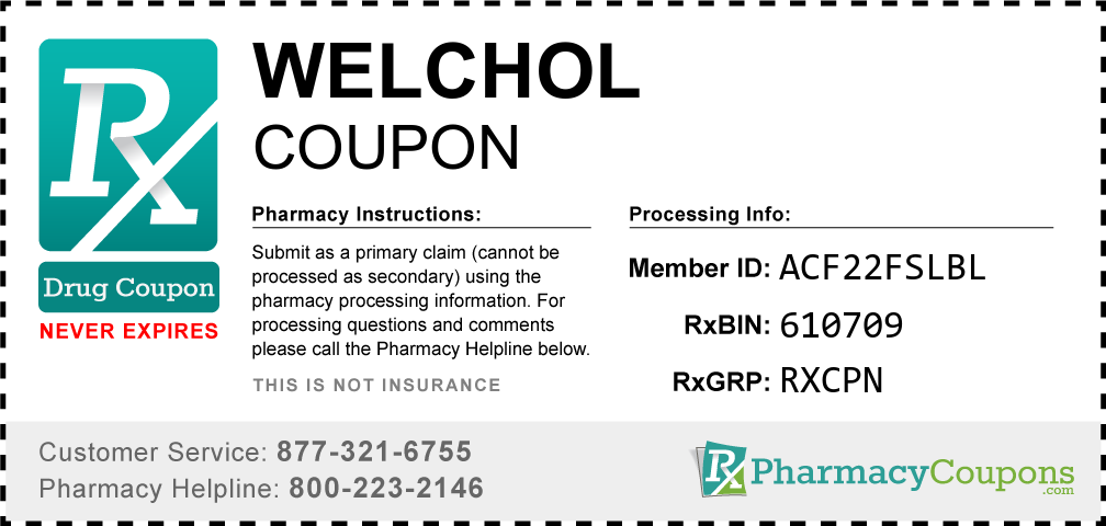 Welchol Prescription Drug Coupon with Pharmacy Savings