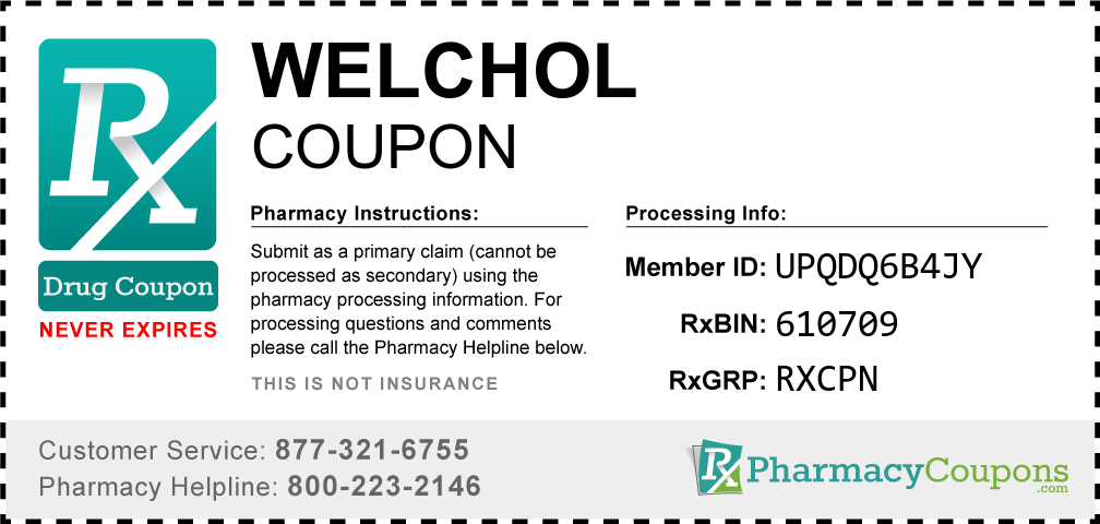 Welchol Prescription Drug Coupon with Pharmacy Savings