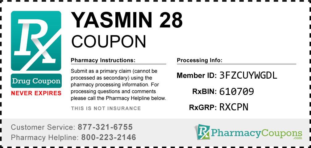 Yasmin 28 Prescription Drug Coupon with Pharmacy Savings