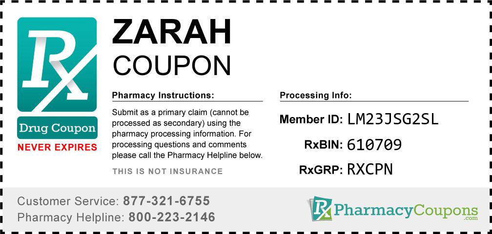 Zarah Prescription Drug Coupon with Pharmacy Savings