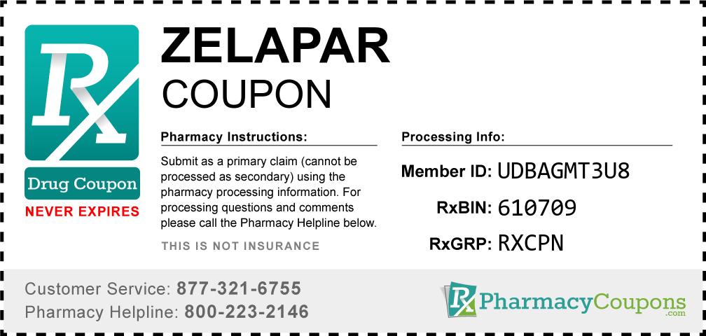 Zelapar Prescription Drug Coupon with Pharmacy Savings