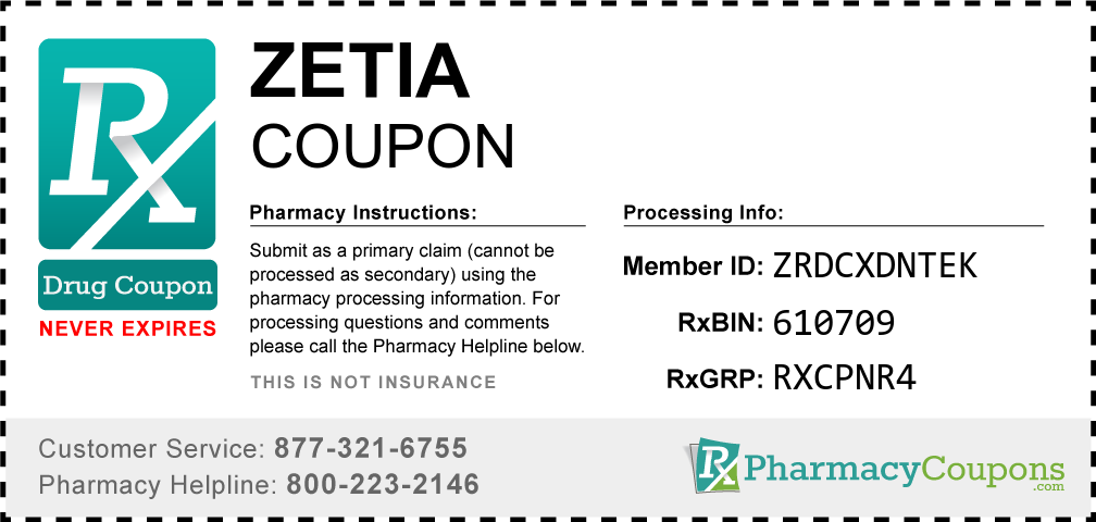 Zetia Prescription Drug Coupon with Pharmacy Savings