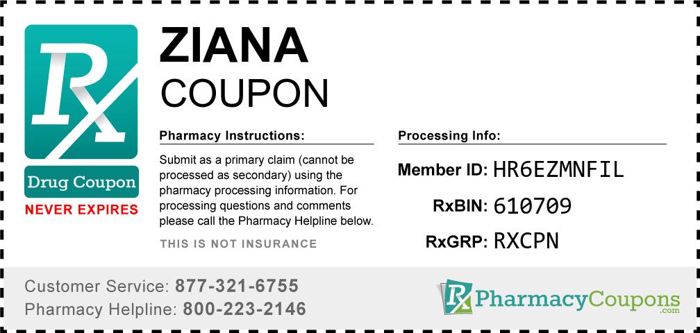 Ziana Prescription Drug Coupon with Pharmacy Savings