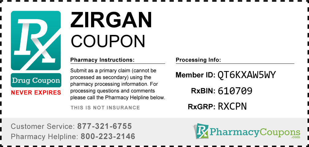 Zirgan Prescription Drug Coupon with Pharmacy Savings
