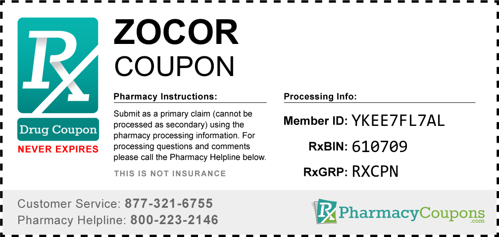 Zocor Prescription Drug Coupon with Pharmacy Savings