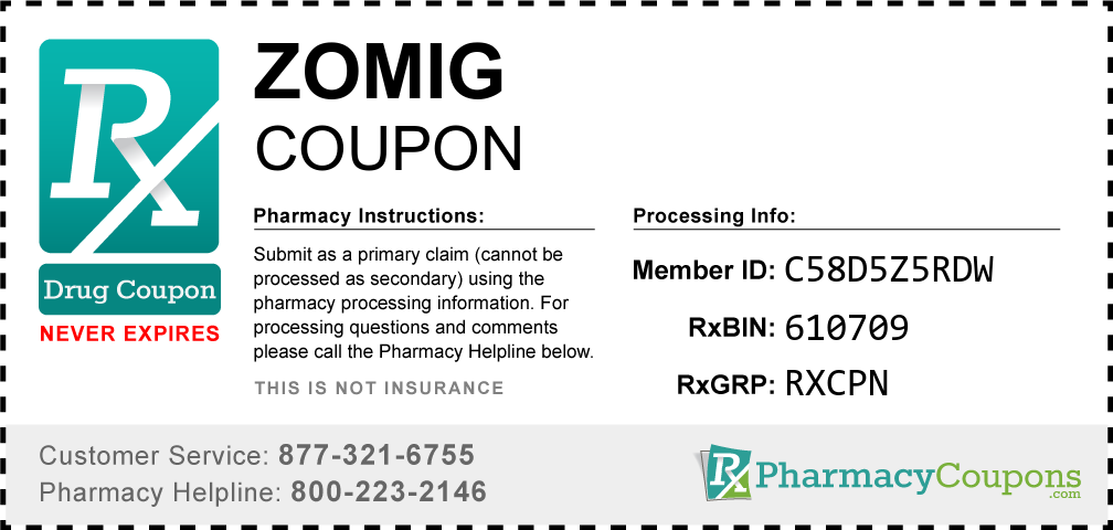 Zomig Prescription Drug Coupon with Pharmacy Savings