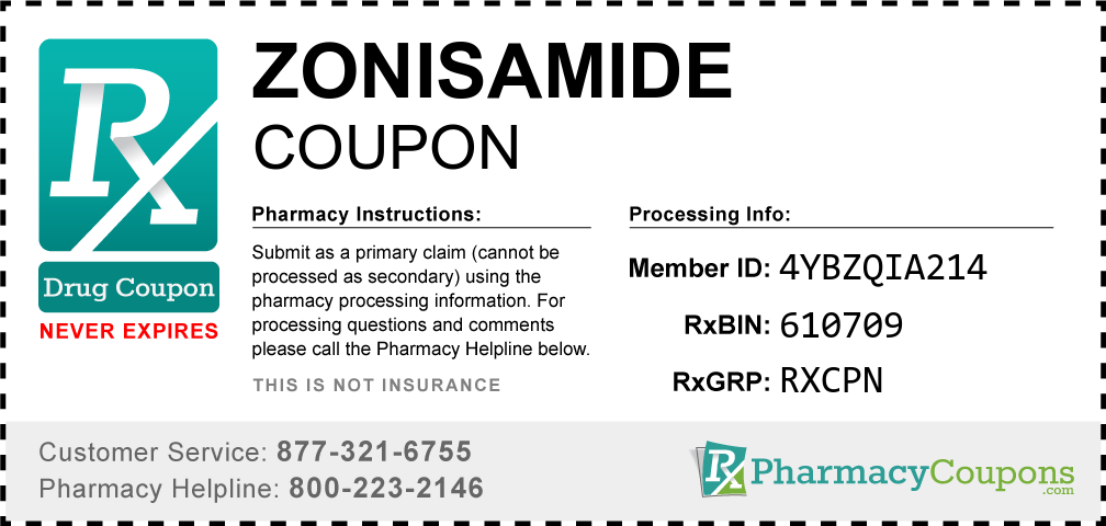 Zonisamide Prescription Drug Coupon with Pharmacy Savings