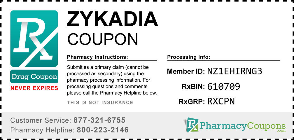 Zykadia Prescription Drug Coupon with Pharmacy Savings