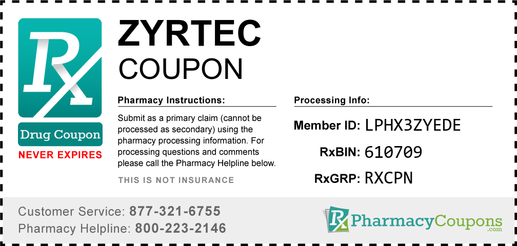 Zyrtec Prescription Drug Coupon with Pharmacy Savings